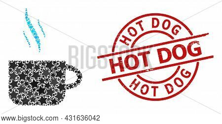 Hot Tea Cup Star Mosaic And Grunge Hot Dog Seal Stamp. Red Seal With Grunge Style And Hot Dog Text I