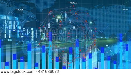 Image of moving graphs with a world map and fast forward highway. digital interface global connections concept digitally generated image.
