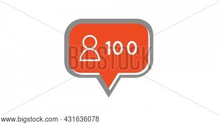 Digital image of a human icon and increasing numbers inside an orange chat box on a white background 4k