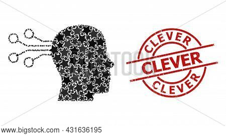 Mind Interface Star Pattern And Grunge Clever Seal Stamp. Red Seal With Grunge Texture And Clever Te
