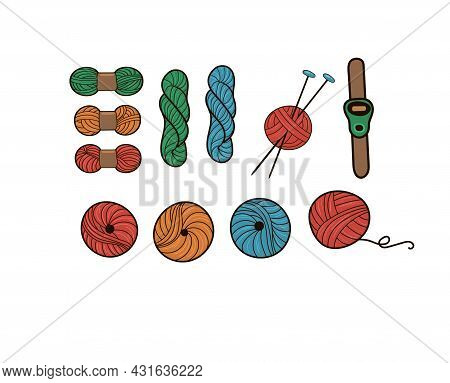 Set For Knitting. Multi-colored Balls Of Wool. Knitting Needles. Isolated On A White Background. Bal