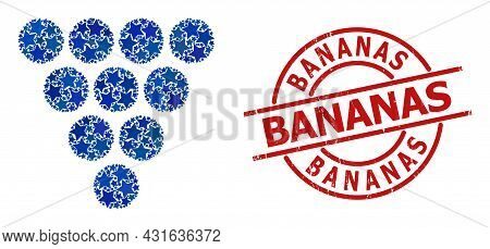 Grapes Star Mosaic And Grunge Bananas Stamp. Red Stamp With Unclean Texture And Bananas Tag Inside C