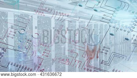 Image of a microprocessor over an empty server room. digital interface global connections concept digitally generated image.