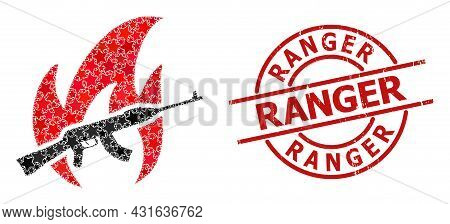 War Fire Star Pattern And Grunge Ranger Stamp. Red Stamp With Corroded Style And Ranger Caption Insi