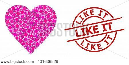 Heart Star Pattern And Grunge Like It Stamp. Red Stamp With Grunge Surface And Like It Slogan Inside