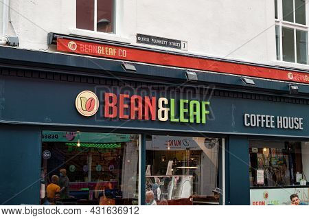 Cork, Ireland- July 14, 2021: The Sign For Bean & Leaf Coffee House In Cork