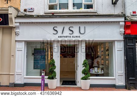 Cork, Ireland- July 14, 2021: The Front Of Sisu Aesthetic Clinic In Cork City