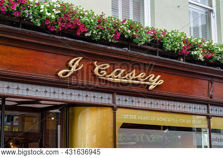 Cork, Ireland- July 14, 2021: The Sign For J Casey Funiture Store In Cork
