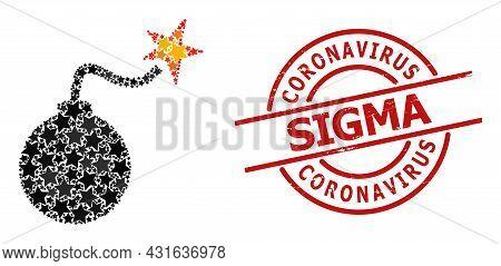 Bomb Ignition Star Mosaic And Grunge Coronavirus Sigma Badge. Red Stamp With Grunge Style And Corona