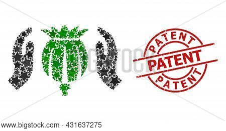 Poppy Care Hands Star Pattern And Grunge Patent Badge. Red Stamp With Grunge Surface And Patent Capt