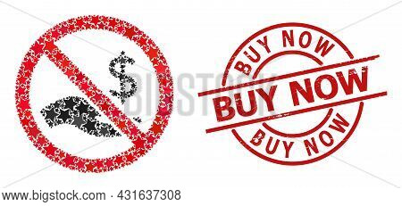 Forbid Dollar Payment Star Mosaic And Grunge Buy Now Seal Stamp. Red Seal With Distress Style And Bu