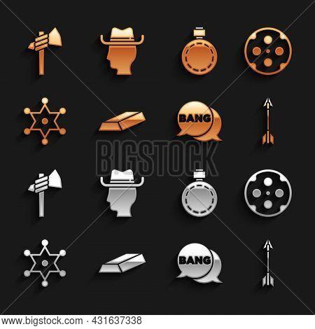 Set Gold Bars, Revolver Cylinder, Crossed Arrows, Bang Boom, Gun Comic, Hexagram Sheriff, Canteen Wa