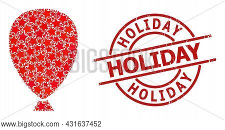 Celebration Balloon Star Mosaic And Grunge Holiday Stamp. Red Seal With Grunge Texture And Holiday C