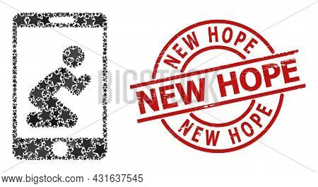 Pray App Star Mosaic And Grunge New Hope Badge. Red Watermark With Grunge Style And New Hope Text In