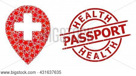 Clinic Map Pointer Star Mosaic And Grunge Health Passport Badge. Red Stamp With Grunge Surface And H