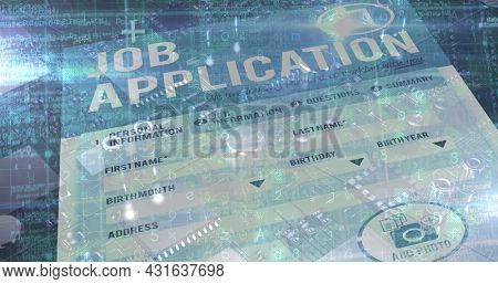 Image of job application form pver a microprocessor with data and information. digital interface global connections concept digitally generated image.