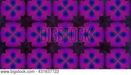 Image of pink squares moving in hypnotic motion with kaleidoscope shapes on purple background. Colour shape movement concept digitally generated image.