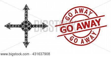 Expand Star Mosaic And Grunge Go Away Seal Stamp. Red Seal With Grunge Surface And Go Away Caption I