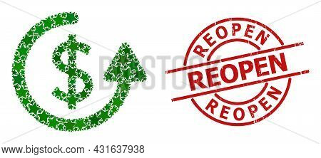 Repeat Payment Star Pattern And Grunge Reopen Seal. Red Imprint With Grunge Style And Reopen Caption