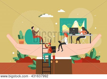 Employer Hands Holding Office People, Flat Vector Illustration. Employee Care, Wellbeing, Benefits.