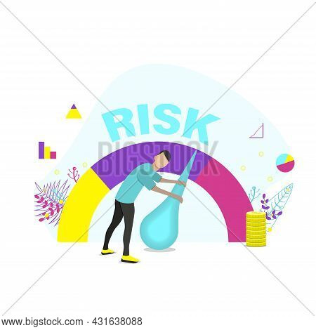 Concept Of Risk On Speedometer Is High, Medium, Low. \nwoman Manages Risk In Business Or Life. Flat