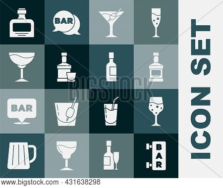 Set Street Signboard With Bar, Glass Of Champagne, Whiskey Bottle, Martini Glass, And, Wine, And Cha