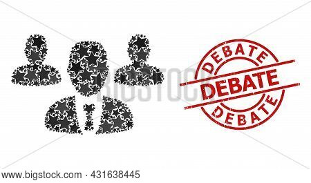 Team Staff Star Mosaic And Grunge Debate Seal. Red Seal With Grunge Surface And Debate Phrase Inside