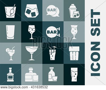 Set Glass Of Beer, With Water, Street Signboard Bar, Champagne, Cocktail Bloody Mary And Icon. Vecto
