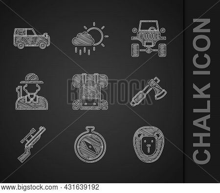 Set Hiking Backpack, Compass, Wild Lion, Wooden Axe, Sniper Rifle With Scope, Hunter, Off Road Car A