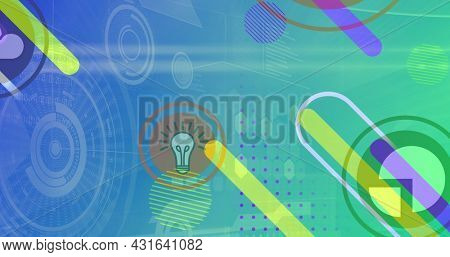 Image of digital icons and scopes scanning over abstract shapes. global technology, connections and digital interface concept digitally generated image.