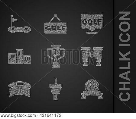Set Award Cup With Golf, Golf Tee, Ball, Binoculars, Sun Visor Cap, Over Sports Winner Podium, Label