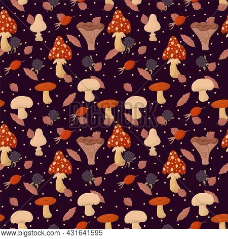 Seasonal Background With Wild Mushrooms And Berries. Natural Texture For Textiles. Vector Pattern On