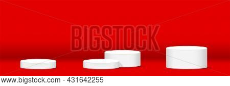 Cylinder Podium For Make-up Product Display On Red Background, For Horizontal Banner, Podium Stage S
