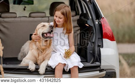 Preteen girl with golden retriever dog sitting in car trunk together. Pretty child kid hugging doggy pet in vehicle