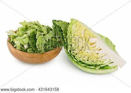 Savoy Cabbage Slice And Chopped Isolated On White Background With Clipping Path And Full Depth Of Fi