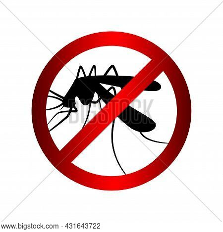 Mosquito In Warning Prohibited Red Circle Sign, Anti Mosquitoes Insect Control Symbol, Mosquito Warn