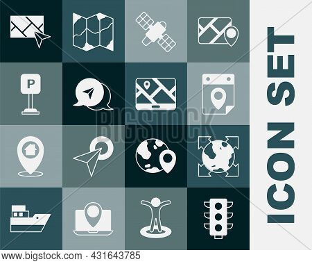 Set Traffic Light, World Globe With Compass, Travel Planning Calendar, Satellite, Infographic Of Cit