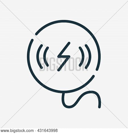 Phone Wireless Charger Line Icon. Wireless Charging Pad For Smartphone Linear Icon. Editable Stroke.