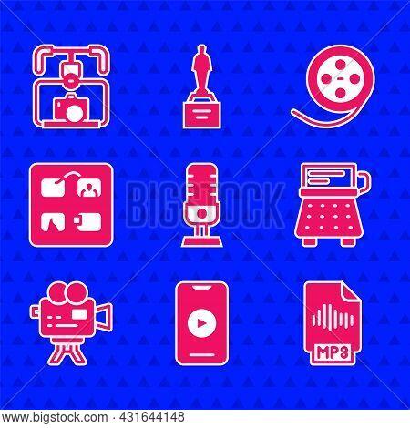 Set Microphone, Online Play Video, Mp3 File Document, Retro Typewriter, Cinema Camera, Storyboard, F