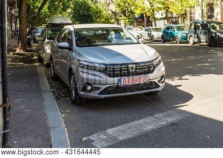 The New 2021 Dacia Logan Car Parked Along A Street In Bucharest, Romania, 2021