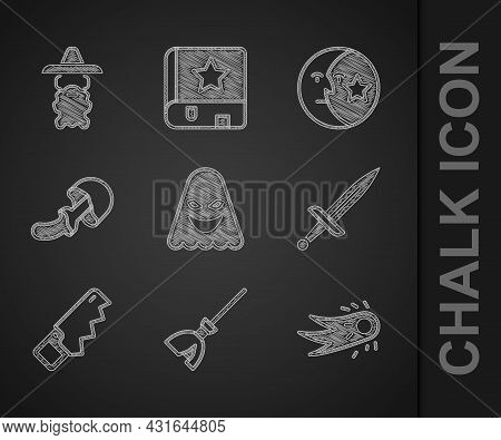 Set Ghost, Witches Broom, Fireball, Dagger, Hand Saw, Psilocybin Mushroom, Moon Stars And Wizard War