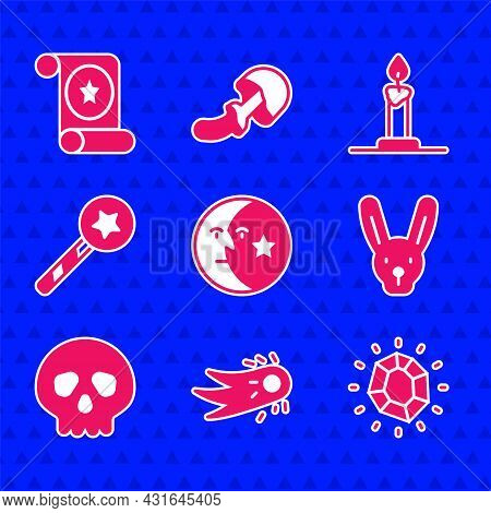 Set Moon And Stars, Fireball, Magic Stone, Rabbit With Ears, Skull, Wand, Burning Candle In Candlest