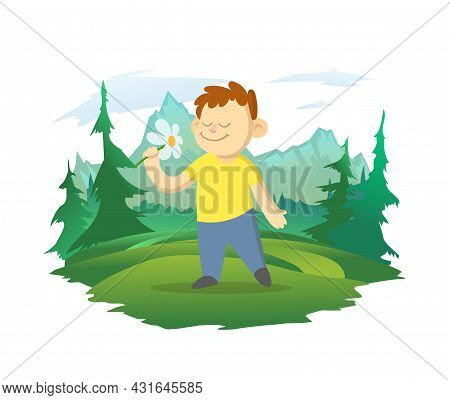 A Boy Smells A Flower In A Forest Clearing. Mountain Landscape In The Background. Vector Illustratio