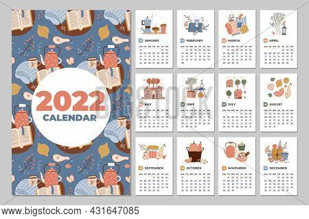 Wall Calendar Template. 2022 Yearly Planner With All Months. Cozy Organizer And Schedule. Cute Home