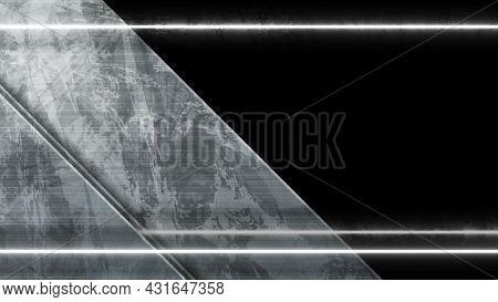 Dark grey tech corporate background with laser neon lines