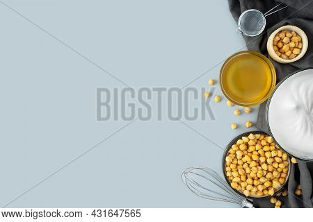 Chickpea Aquafaba.egg Replacement.vegan Cooking Concept. Whipped Chickpeas Liquid In Glass Bowl.chic