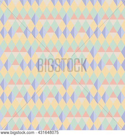 Seamless Abstract Background Pattern. Pastel Tones, Green, Purple, Orange, Yellow. Geometric, Diamon