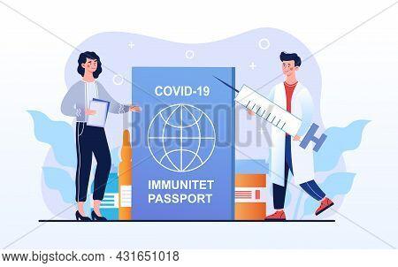 Covid-19 Immunity Passport, Vaccination Certificate. International Passport. Male Doctor Carry Syrin