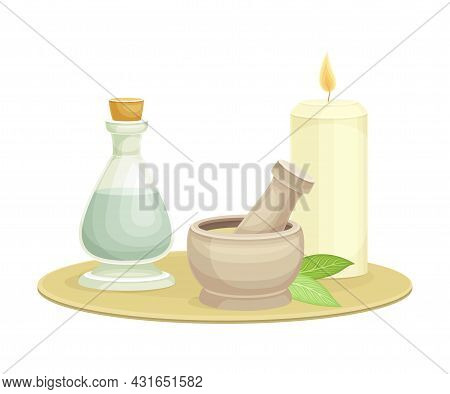 Spa And Aromatherapy With Burning Candle, Essential Oil In Corked Jar And Pestle With Mortar Vector