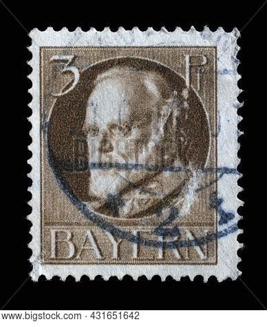 ZAGREB, CROATIA - JUNE 22, 2014: Stamp printed in Bavaria shows Ludwig III, King of Bavaria (1845-1921), circa 1914